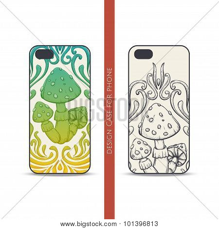 Design Case for Phone Abstract Mushroom One