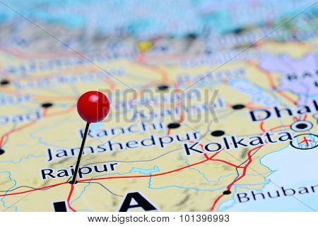 Raipur pinned on a map of Asia