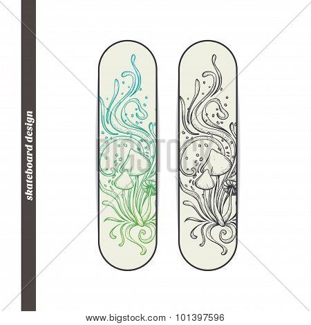 Skateboard Design Abstract Mushroom Four