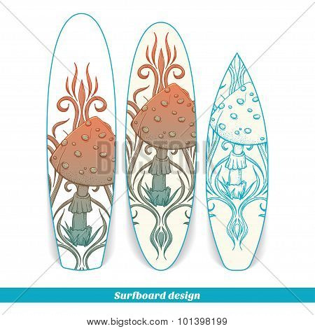 Surfboard Design Abstract Mushroom Two