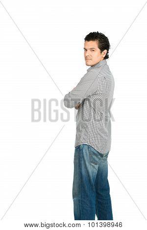 Reserved Hispanic Man At Camera Over Shoulder V