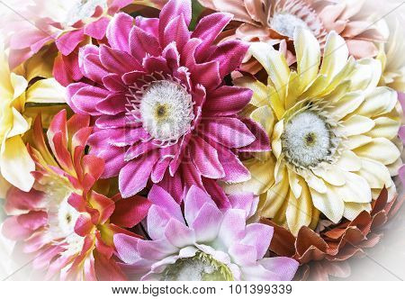 Colorful of beautiful artificial bouguet flowers background poster