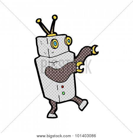 comic book style cartoon robot