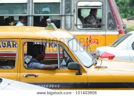 Taxi Driver In The Car
