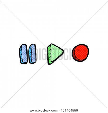 comic book style cartoon playback symbols