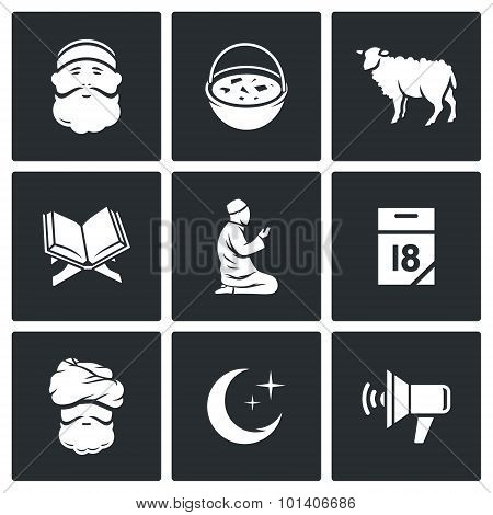 Ramadan - The Month Of Fasting Obligatory For Muslims Icons Set. Vector Illustration.