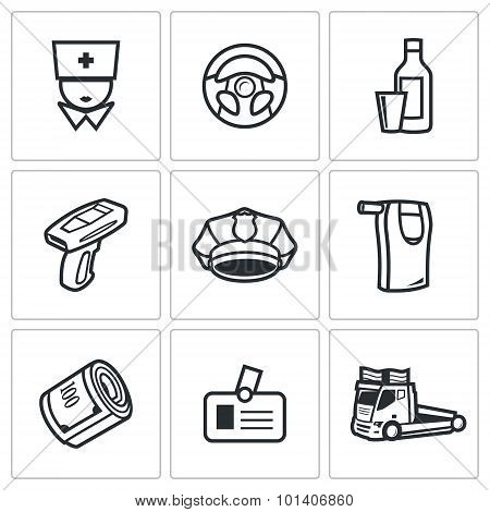 Drunken Driving Icons Set. Vector Illustration.
