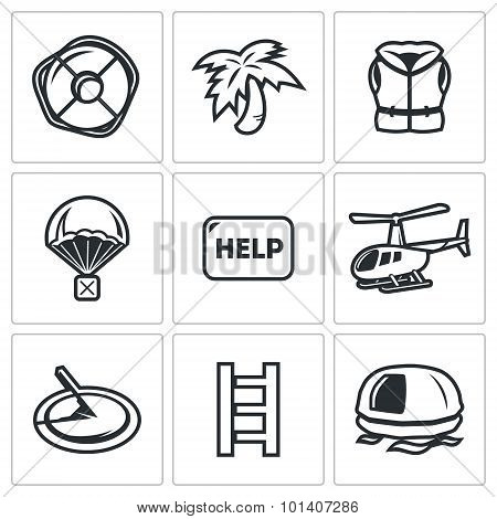 Rescue operation icons set. Vector Illustration. Vector Isolated Flat Icons collection on a white background for design poster