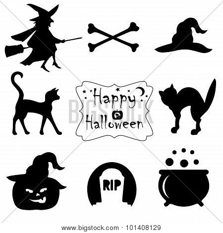 Collection Of Black Halloween Icons.