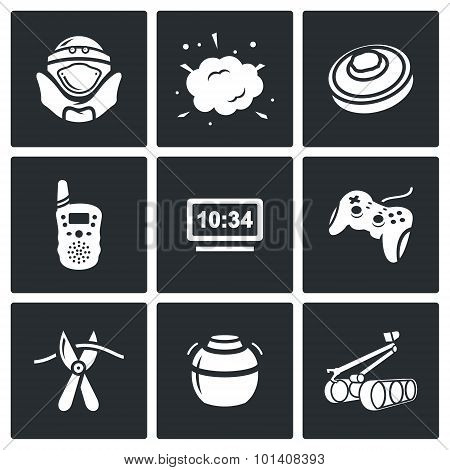 Minesweeper, demining equipment for mine clearance icons set. Vector Illustration. Vector Isolated Flat Icons collection on a black background for design