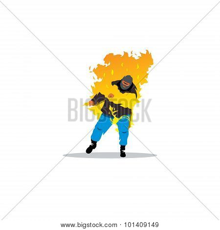 Stuntman. Burning Man Sign. Vector Illustration.