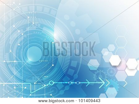 Vector illustration gear wheel eye ball hexagons and circuit board
