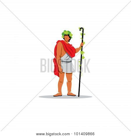 Dionysus sign. The Mythological Greek god of wine, winemaking, ecstasy and horror. Vector Illustration. Design template Isolated on a white background