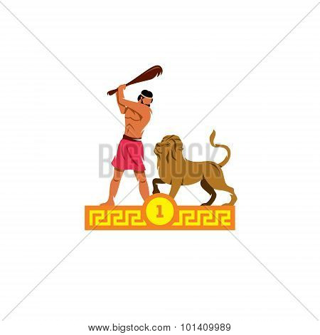 The First Feat Of Heracles. Nemean Lion. Vector Illustration.