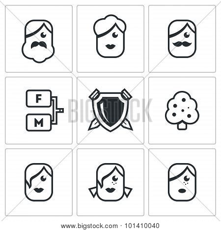 Family tree icons set. Vector Illustration.  Isolated Flat Icons collection on a white background for design