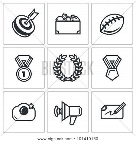 Fame and glory icons set. Vector Illustration.  Isolated Flat Icons collection on a white background for design