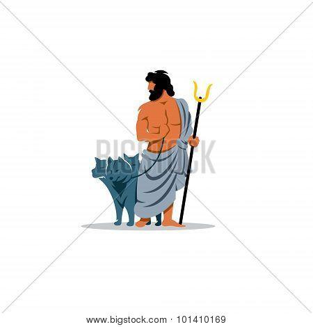 Hades Sign. Mythological Greek God Of The Dead Underworld. Vector Illustration.