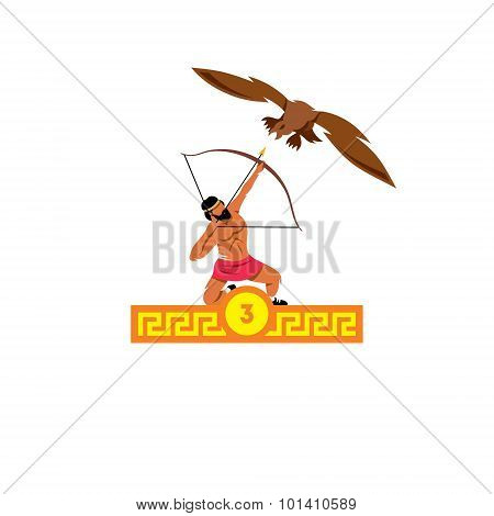 The Third Feat Of Heracles. Stymphalian Birds. Vector Illustration.