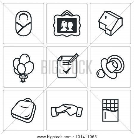 Adoption Of A Child By Adoptive Parents Icons Set. Vector Illustration.