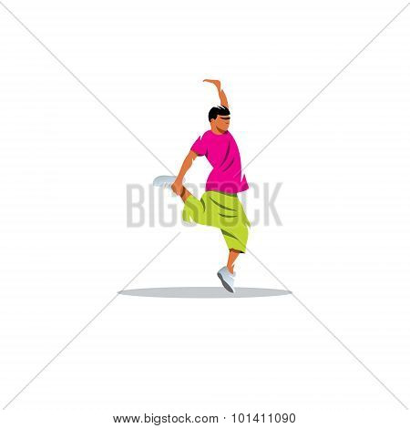 One hip hop acrobatic break dancer breakdancing young man sign. Vector Illustration. Design template Isolated on a white background