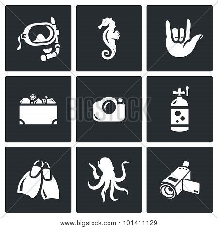 Diving icons set. Vector Illustration. Vector Isolated Flat Icons collection on a black background for design