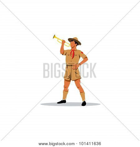 Young Boy Scout Bugler Sign. Vector Illustration.