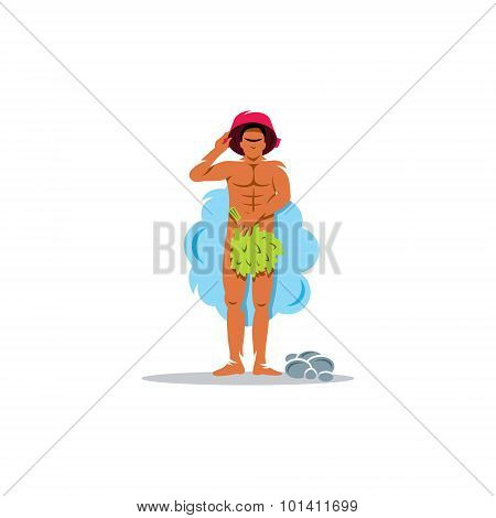 Man Is Steamed In The Sauna With Birch Broom And Basin. Vector Illustration.