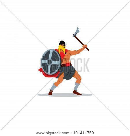 Viking Warrior With A Large Ax And Shield Sign. Vector Illustration.