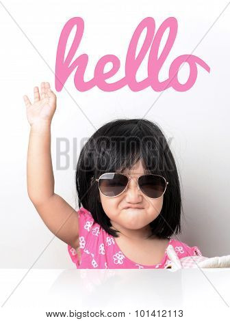 Little girl hand up