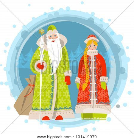 Russian Christmas: Ded Moroz (Grandfather Frost) and Snegurochka (Snow Maiden). Vector illustration. poster