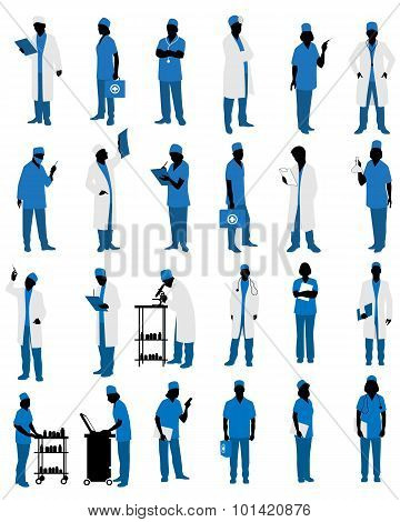Doctors In Uniform Silhouettes