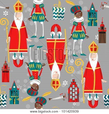Christmas In Holland. Sinterklaas And Zwarte Piet. Seamless Background Pattern.