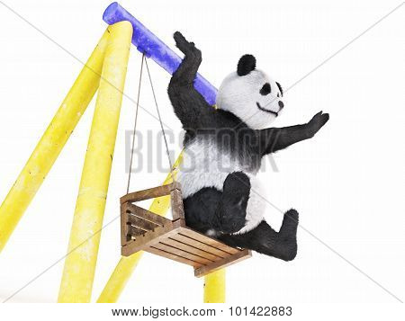 Chineese Cheerful Character Panda Fluffy Animal