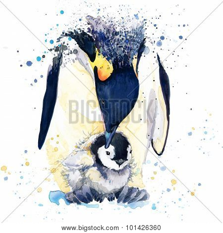 emperor penguin T-shirt graphics. emperor penguin illustration with splash watercolor textured backg