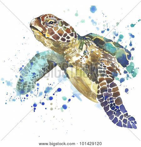 sea turtle T-shirt graphics. sea turtle illustration with splash watercolor textured background.