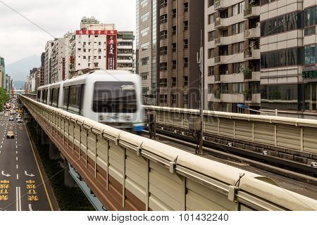 Taipei Mrt On The Rail And City Street