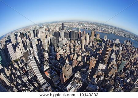 New York Cityscape With Fisheye