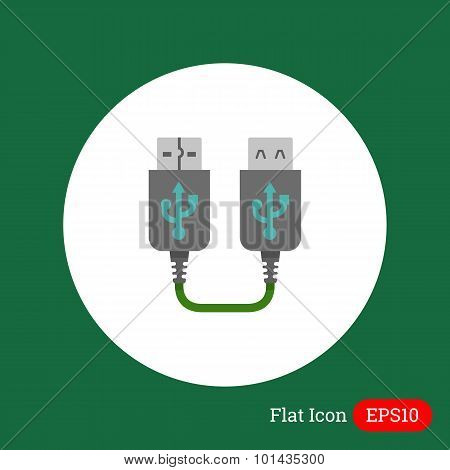 Vector icon of USB extender, isolated on white poster