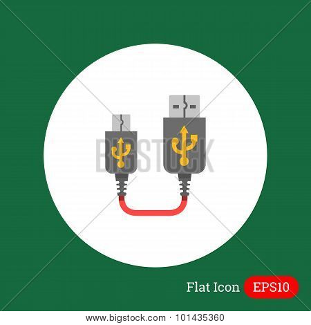 Vector icon of USB to mini USB cable, isolated on white poster