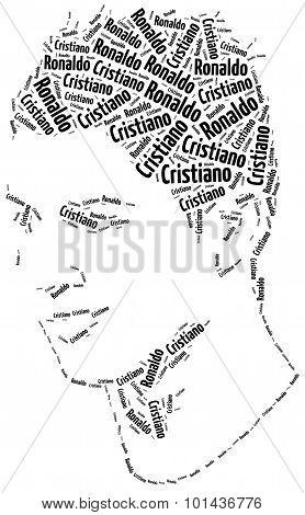 A Word Cloud Portrait Illustration Of Cristiano Ronaldo.
