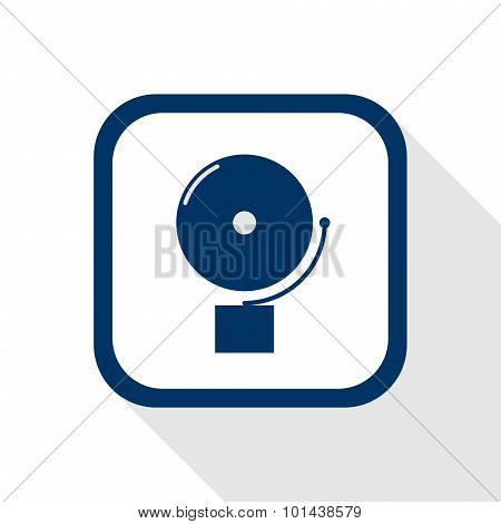 Square Blue Icon Alarm Bell With Long Shadow