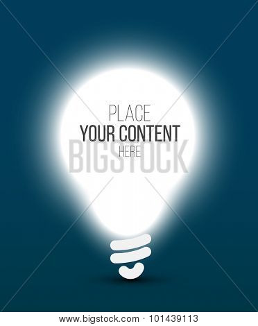 Vector idea - shining bulb template with place for your content