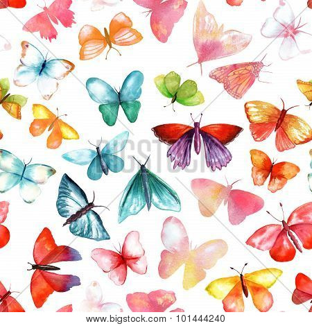 Seamless pattern with many watercolour butterflies of various colours and shapes