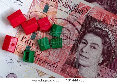 Plastic Model Houses And English Pound Notes