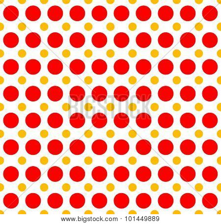 Red Yellow Dotted, Polka Dot Background. Vector Illustration.