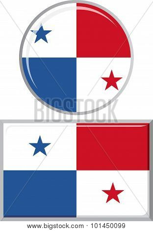 Panamanian round and square icon flag. Vector illustration.