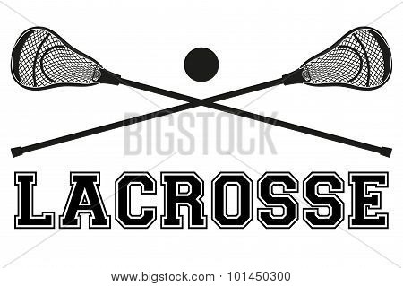 Lacrosse sticks and ball. Flat style