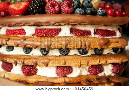 Chocolate topped sponge layer cake with berries