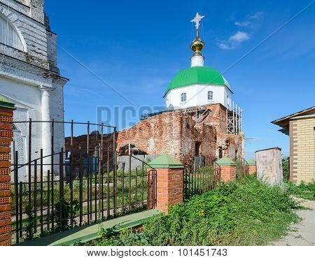 The destroyed church in Russia. Holy Trinity Church in the village Karacharovo near Murom poster
