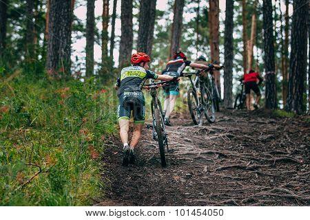 mountainbiker in a uphill race